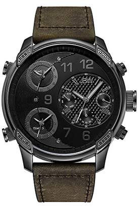 "JBW Men's J6248L-K ""G4"" Multi-Time Zone Vintage Brown Leather Watch"