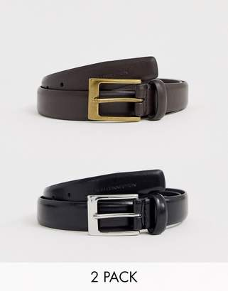 French Connection 2 pack prong buckle belt
