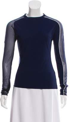Paco Rabanne Mesh-Accented Long Sleeve Top
