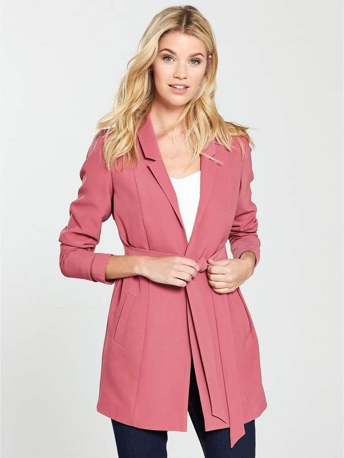 Longline Belted Jacket - Berry Rose