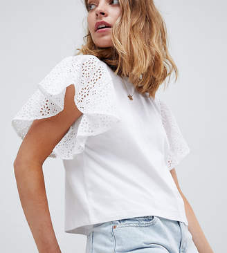Asos Design Petite T-Shirt With Flutter Sleeve In Broderie