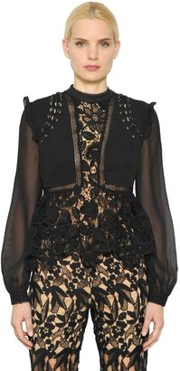 Guipure Lace & Chiffon Top $375 thestylecure.com