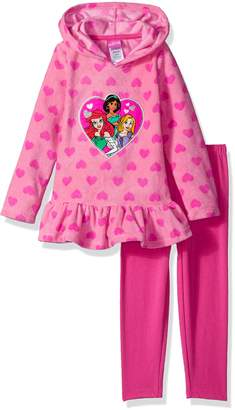 Disney Toddler Girls' 2 Piece Princess Fleece Hoodie with Applique and Pant