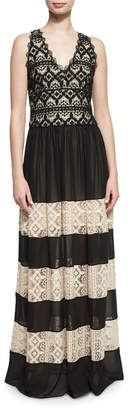 Alice + Olivia Tilly Lace Insert Maxi Dress, Black