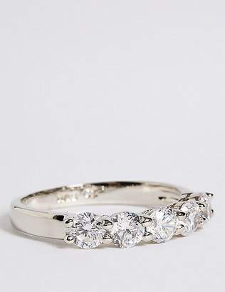 Marks and Spencer Platinum Plated Diamanté Band Ring