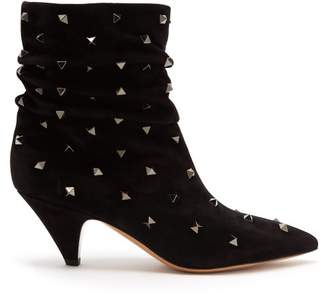 Valentino Bootstuds Suede Ankle Boots - Womens - Black