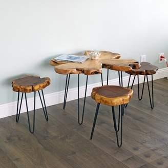 Union Rustic Sari Unique Wood Stump Rustic Surface End Table