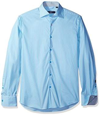 Stone Rose Men's Long Sleeve Melange Texture Button Down Shirt
