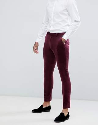 Asos DESIGN super skinny suit pants in burgundy velvet