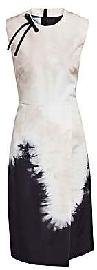 Prada Women's Silk Faille Tie Dye Sleeveless Sheath Dress
