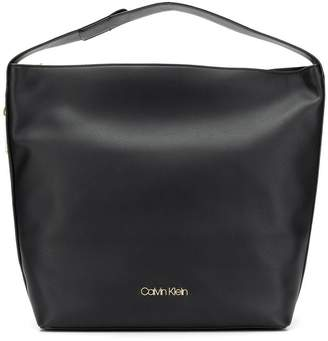 Calvin Klein large logo plaque shoulder bag