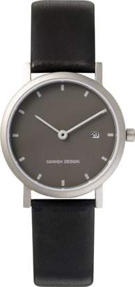 Danish Design Women's Quartz Watch with Grey Dial Analogue Display and Black Leather Strap DZ120008