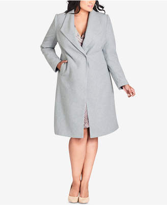 City Chic Trendy Plus Size Single-Breasted Coat
