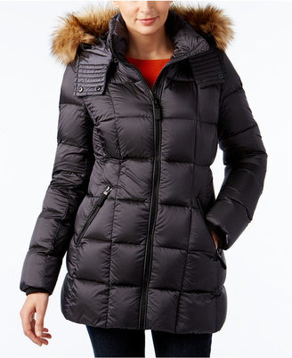 Marc New York Faux-Fur-Trim Hooded Quilted Down Coat $300 thestylecure.com