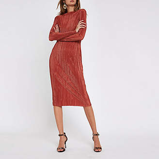 River Island Red plisse tie waist midi dress