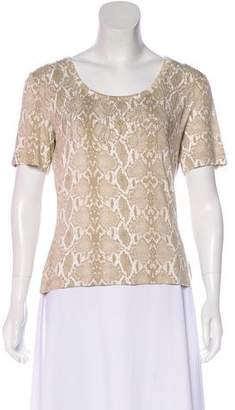 St. John Embellished Animal Print Top