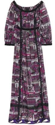 Anna Sui Lace-Trimmed Printed Cotton And Silk-Blend Maxi Dress