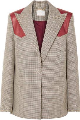 Magda Butrym Arkansas Oversized Leather-trimmed Embellished Houndstooth Wool Blazer