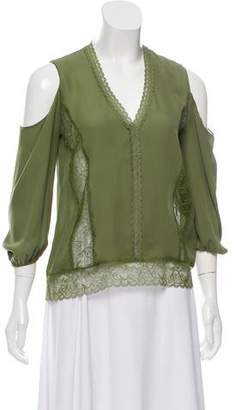 Alice + Olivia Silk Lace-Accented Blouse