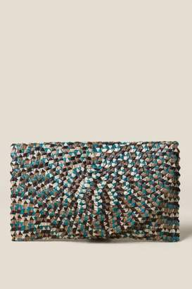 francesca's Sudra Textured Clutch - Teal