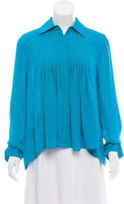 Alice + Olivia Draped Button-Up Top