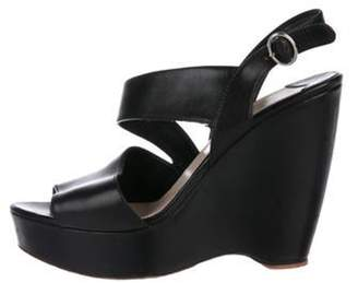 Prada Leather Wedge Sandals Black Leather Wedge Sandals