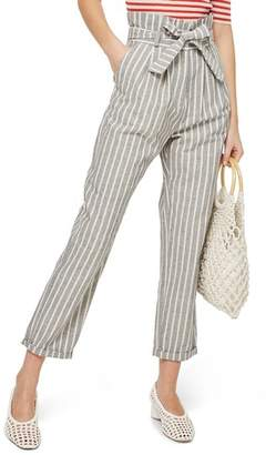 Topshop Belted Stripe Roll-Cuff Trousers