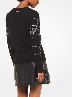MICHAEL Michael Kors Paisley Grommeted Cotton Sweatshirt