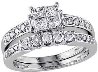 Affinity Diamond Jewelry Affinity Cluster Diamond Ring Set, 14KWhite Gold