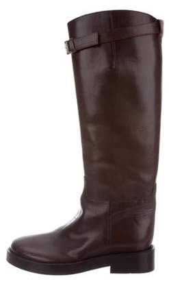 Ann Demeulemeester Leather Riding Boots Brown Leather Riding Boots