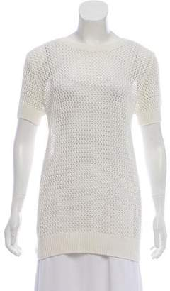 Allude Open Knit Short Sleeve Top