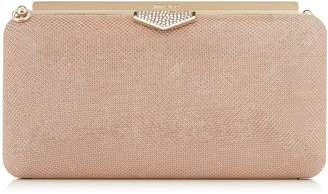 Jimmy Choo ELLIPSE Ballet Pink Glitter Mesh on Suede Clutch Bag