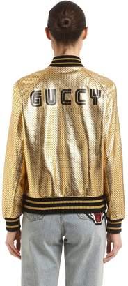 Gucci Guccy Stars Metallic Leather Jacket
