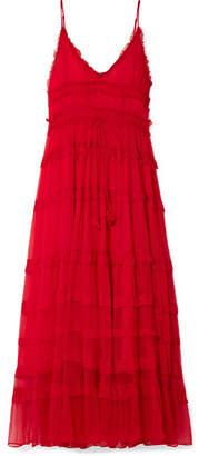 Lee Mathews - Eliza Tiered Silk-crepon Maxi Dress