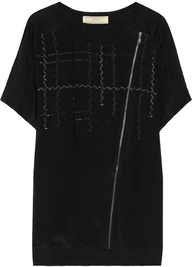 Vanessa Bruno Embellished silk-crepe and cotton-jersey top