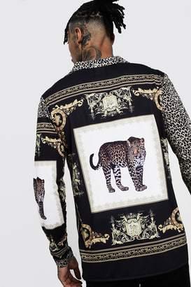 boohoo Animal Placement Long Sleeve Shirt