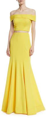 La Femme Matte Jersey Two-Piece Gown
