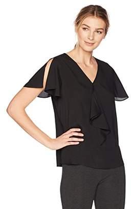Lark & Ro Women's Ruffle Front Short Sleeve Top