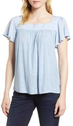 Vince Camuto Ruffle Sleeve Mix Media Cotton Blend Blouse (Regular & Petite)