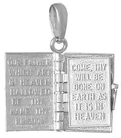 QVC Lord's Prayer Book Pendant Sterling/14K Gold