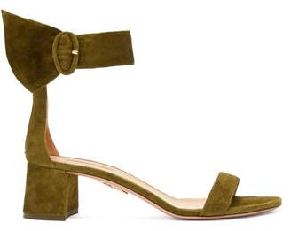 Aquazzura Palace 50 Block Heel Suede Sandals - Womens - Khaki