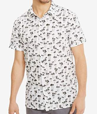 Kenneth Cole Reaction Men's Short Sleeve Button Down Collar Palm Print