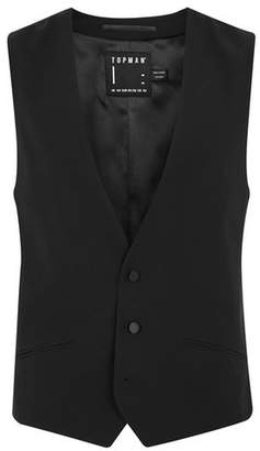 Topman Mens Black Textured Double Breasted Tux Vest