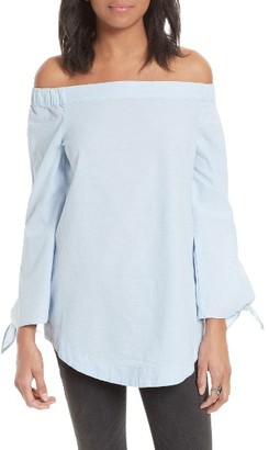 Women's Free People 'Show Me Some Shoulder' Off The Shoulder Cotton Blouse $78 thestylecure.com