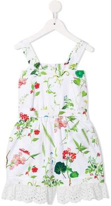 Oscar de la Renta Kids floral flared playsuit