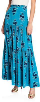 4f1ced8122d25 Veronica Beard Serence Tiered Floral Silk Maxi Skirt