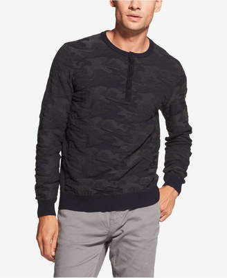 DKNY Men's Camouflage Jacquard Henley Sweater