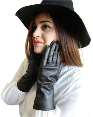 Fownes Women's Cashmere Lined Smart Black Lambskin Leather Gloves 9/XXXL