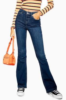 Topshop Indigo Hem Jamie Flare Jeans