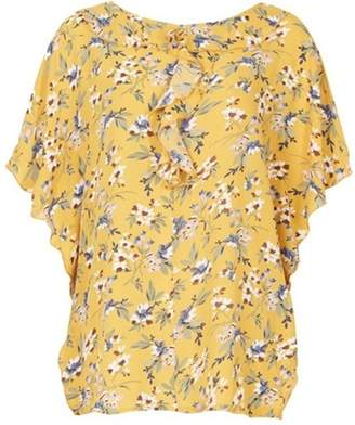 Womens *Tenki Yellow Floral Ruffle Blouse